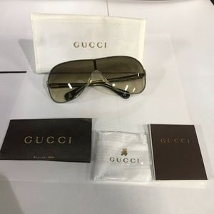 Gucci Kids' Shield Olive Green Sunglasses